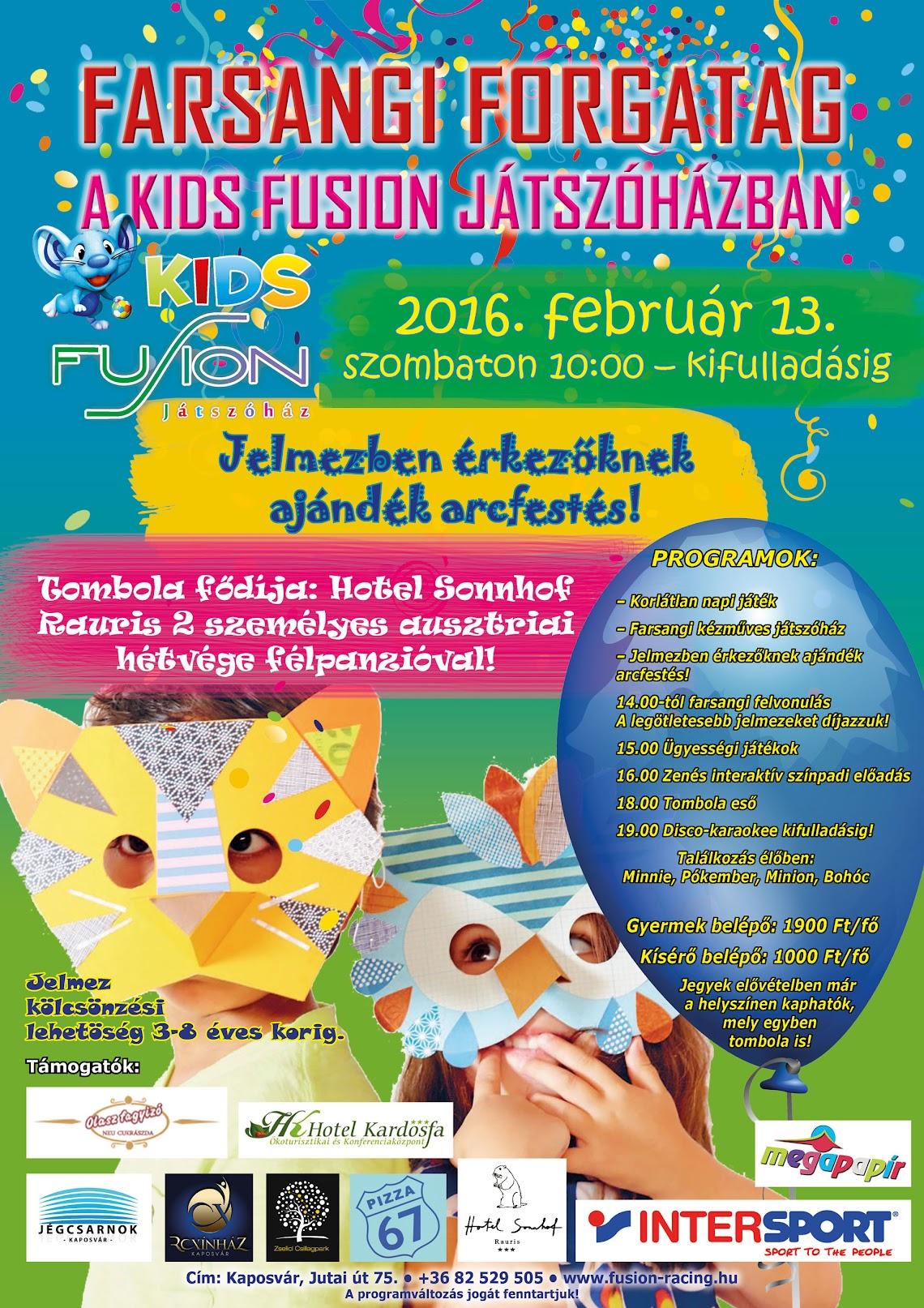Gyermekfarsang farsangi forgatag Kaposvár 2016