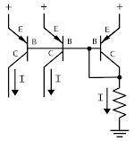 Current mirror circuit. The currents on the right copy the reference current on the left.