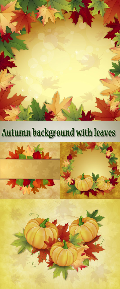 Stock: Autumn background with yellow and red leaves