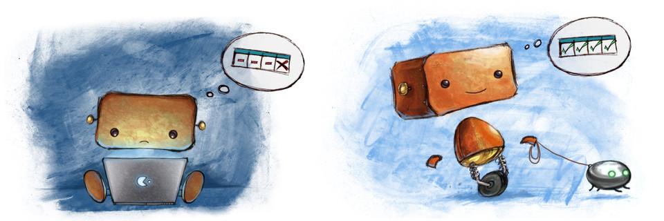 Ilustración: Robot triste y robot contento