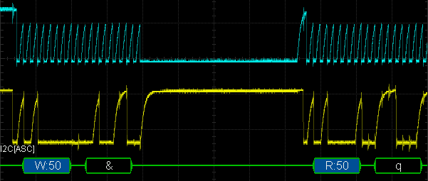 I2C trace: clock (SCL) in cyan and data (SDA) in yellow. Green shows decoded data. Oscilloscope was set to 20µs/division and 2V/division.