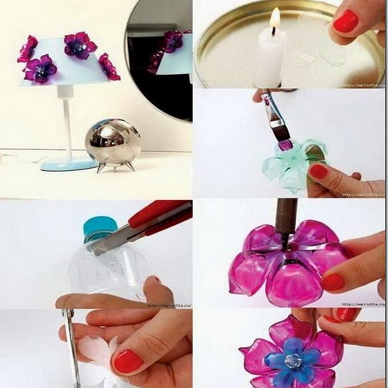 flores hechas con botellas de plástico.