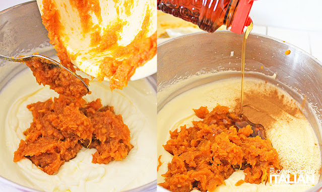 Step by step photos adding sweet potatoes and syrup to cheesecake batter