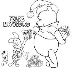 Dibujos Para Pintar Winnie Pooh En Navidad Colorear Tus