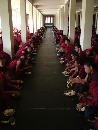 Monks enjoying lunch
