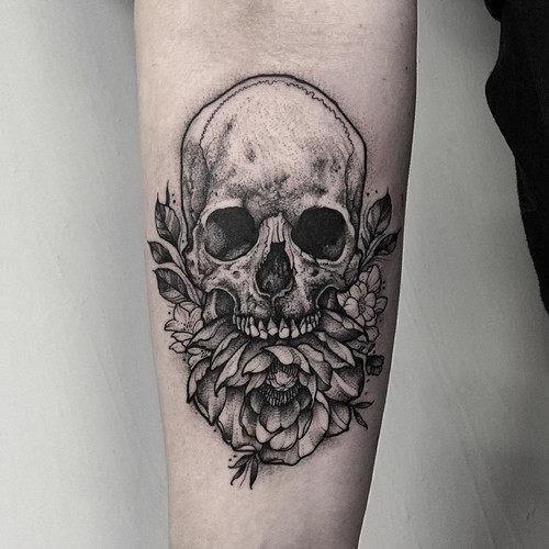 este_sombreado_floral_tatuagem_de_caveira