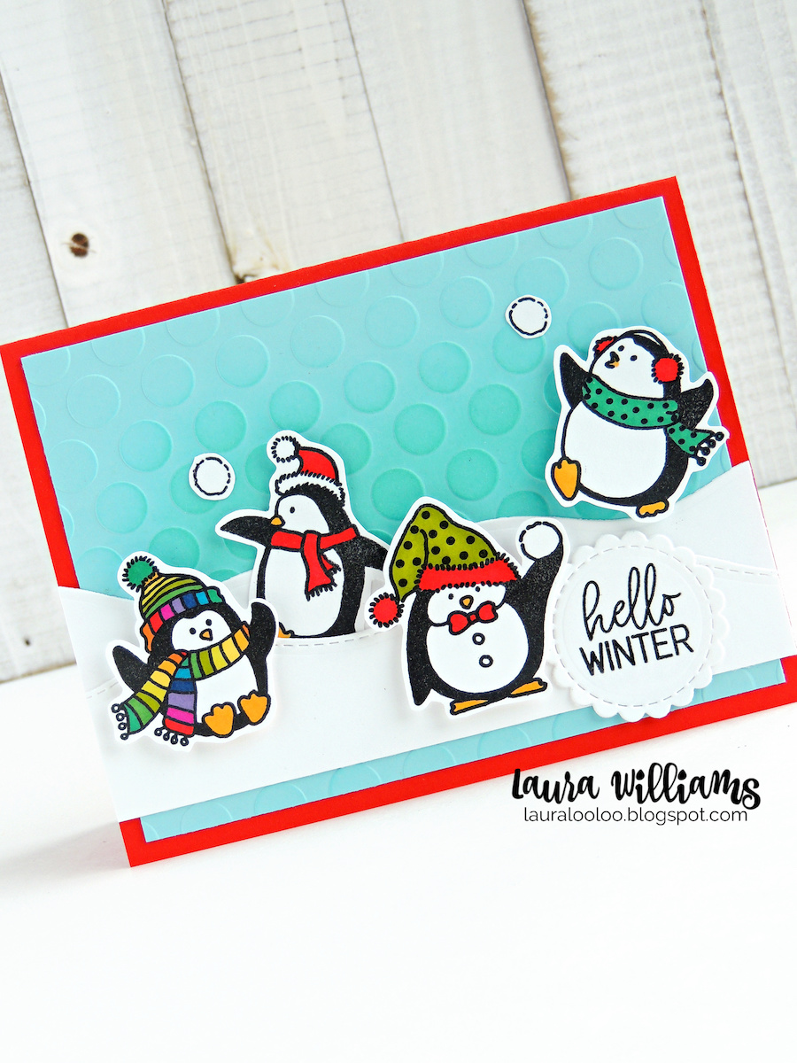 Today's cards all feature Impression Obsession's adorable new  Just Chillin' clear stamp set. This set features 7 penguins (appropriately and adorably dressed for the weather) and 3 coordinating sentiments. You can certainly make darling Christmas cards with this stamp set, but I love that you aren't limited - create any type of cold weather card for birthdays, or just to say hello. The second card has another fun background - this time created with an embossing folder and a little bit of tone-on-tone inking. I created a snowy scene for the penguins using a die from the Wave Edges die set.
