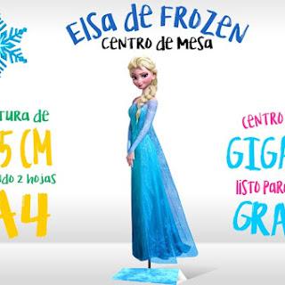 Centro de Mesa: Elsa de Frozen para Imprimir