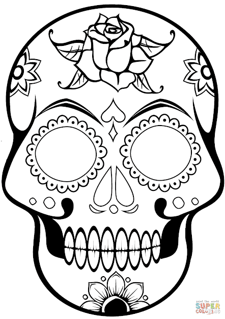 Sugar Skulls Coloring Pages Printable For Kids