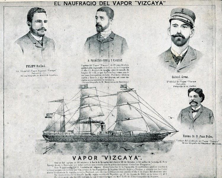 El periódico GIL BLAS, de la Habana, dedicaba esta pagina al naufragio del VIZCAYA el 5 de noviembre de 1890. Del libro Los Marinos de Baleares en la Compañia Trasatlantica. (1872-1944).jpg