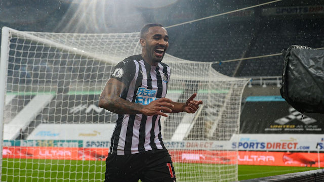 Newcastle forward Callum Wilson celebrates scoring for the magpies