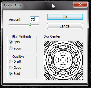 Ajustes do Radial Blur