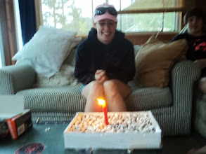 Photo: Birthday cake for the birthday girl. Double Fudge brownies with marshmallows on top. General consensus was the marshmallows adding nothing to the treat.
