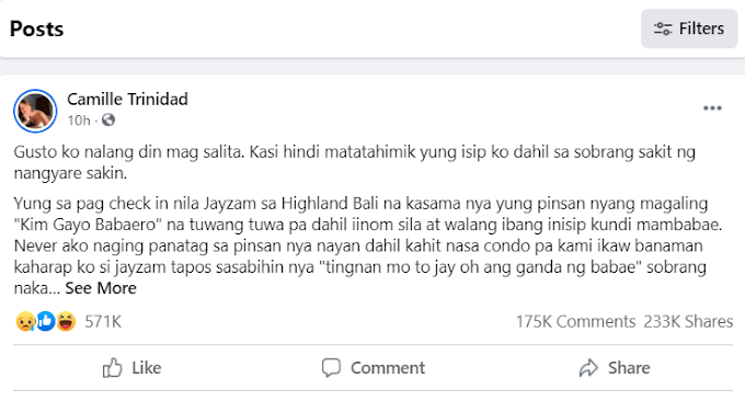 Camille Trinidad couldn't hold her breakdowns as she expresses her thoughts to her Facebook - GazeFeed
