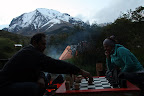 Joshua & Vasilisa Deep in Competition on Their Handmade Chess Set (Torres Del Paine, Chile)