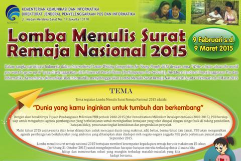 Kabar bangga buat anda semua bahwa gosip terbaru daru Lomba Menulis Surat Remaja Tahun 2015 Berhadiah Total Rp36 Juta