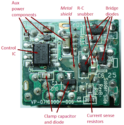 Primary circuit board from Apple iPhone charger, showing the L6565 controller IC
