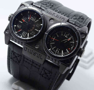 Jam Tangan DIESEL double time black leather Red dial KW