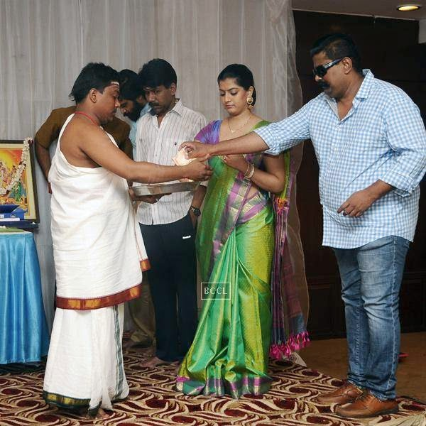 Celebs during the movie pooja of Thaarai Thappattai, held in Chennai.