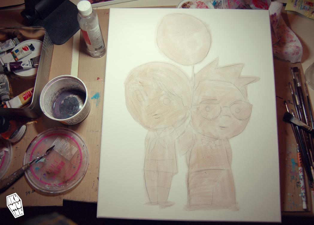 pixar up painting, disney up art, balloon art, red balloon, charicature, custom painting, original cute painting, cute character artist, self painting cute, cute oil painting, cute home art, custom portrait, cute portrait, cute portrait art, custom portrait painting