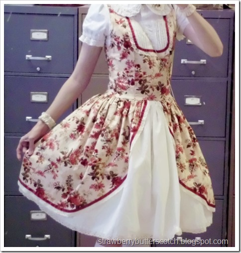Red and Cream Floral Dress
