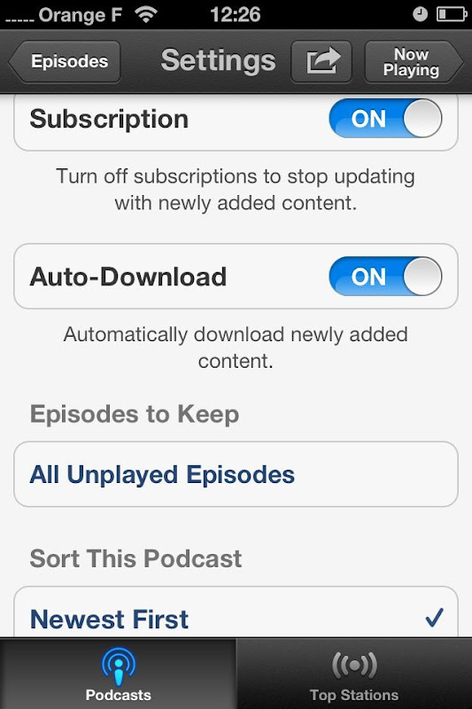 iOS Podcasts subscription options