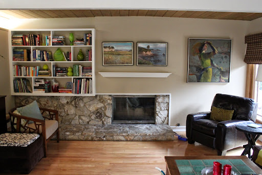 Utuy Design Mid Century Modern Living Room With Fireplace
