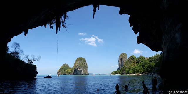Panoramic view of Phra Nang Bay through the cavernous opening of the sea caves.
