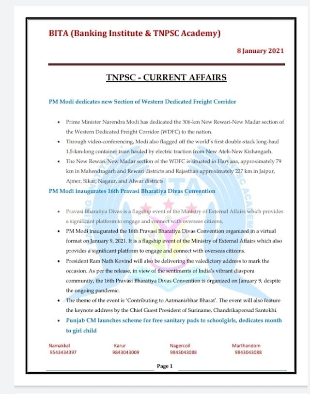 TNPSC Exam - Today Current  Affairs By BITA Academy ( 08 January  2021 )
