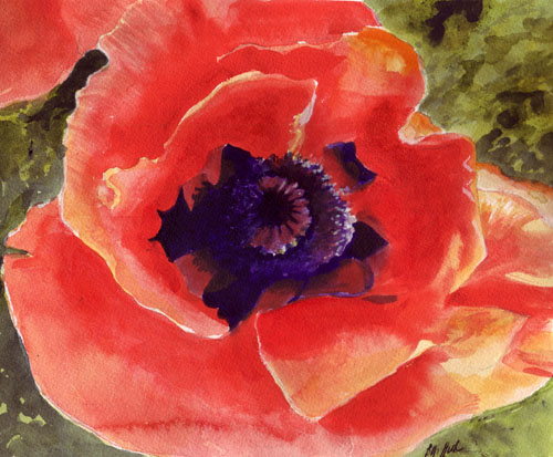 Orange Poppy Watercolor Painting