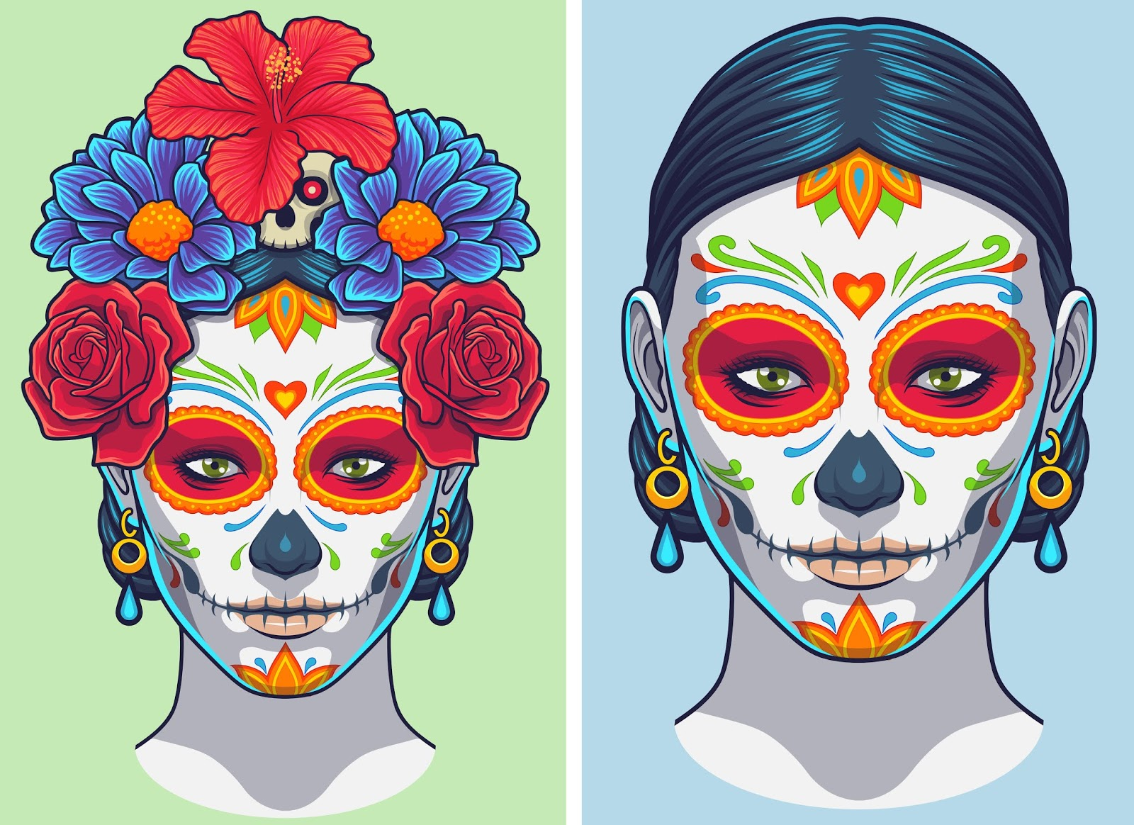Dia Muertos Lady Makeup And Accesories Free Download Vector CDR, AI, EPS and PNG Formats