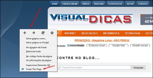 Como publicar qualquer coisa no Twitter usando o menu de contexto do Firefox - Visual Dicas