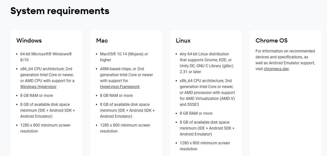 Android studio - system requirement