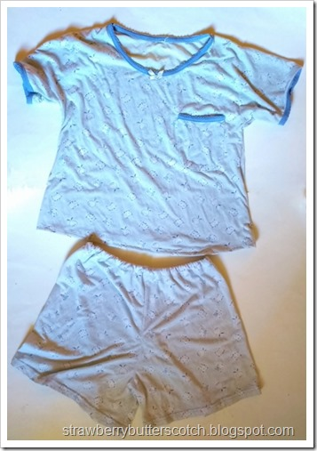 The finished pajama set, a cute tee with shorts with a cute blue animal print.