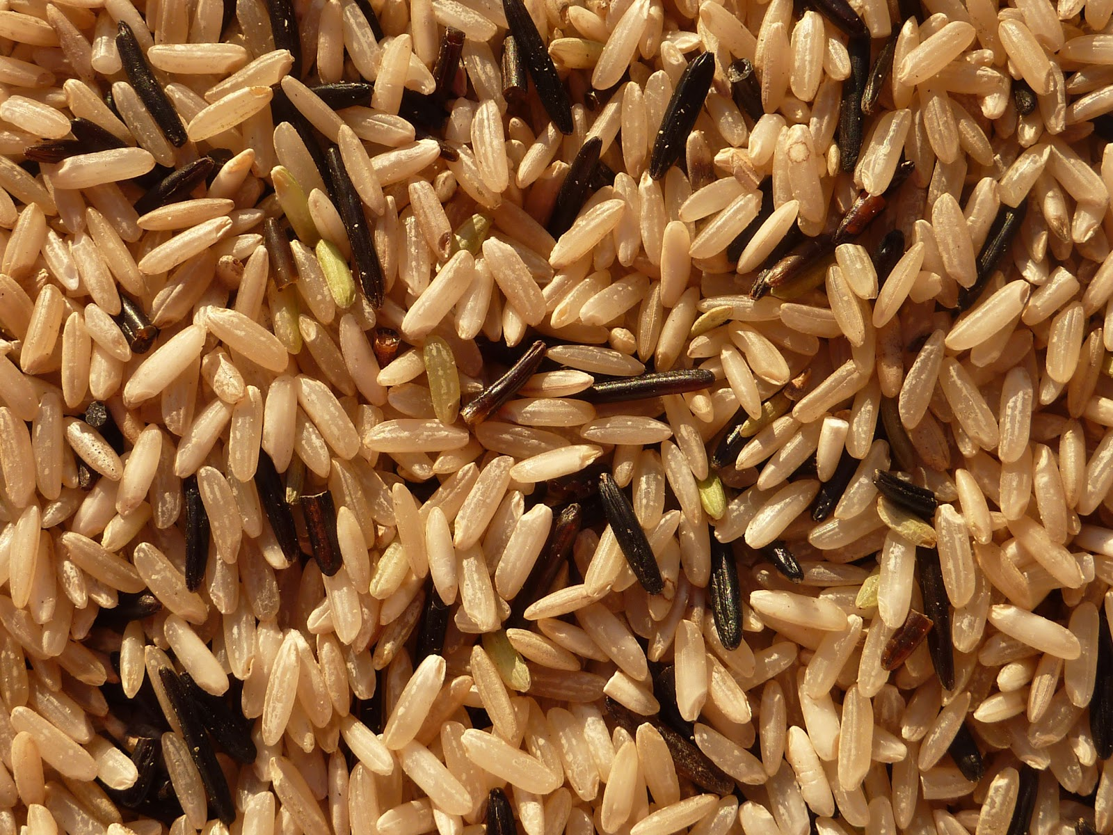 Raw wild rice and brown rice blend.