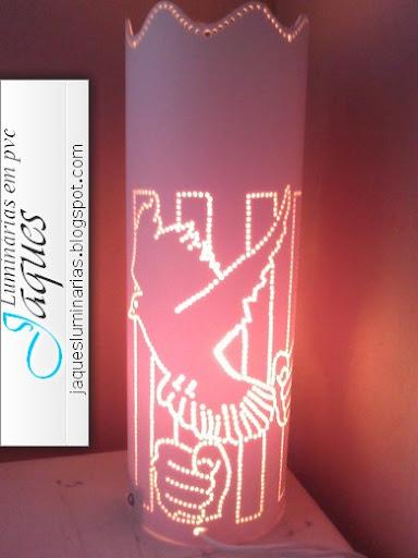 luminária de pvc pomba do espirito santo