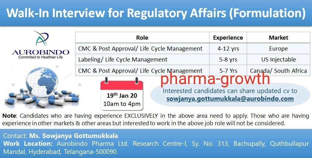 Aurobindo Pharma – Walk in interview for Regulatory Affairs on 19th Jan 2020