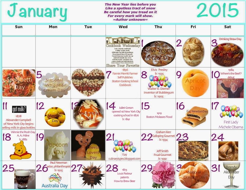 January 2015 Food Calendar