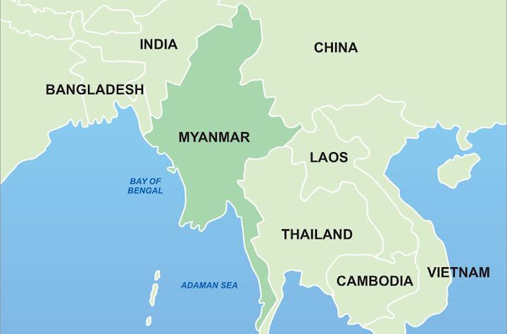 mapa de myanmar birmania
