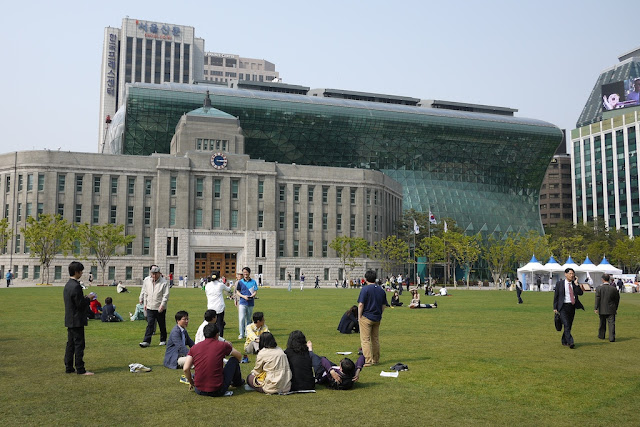 people relaxing on the grass at Seoul Plaza