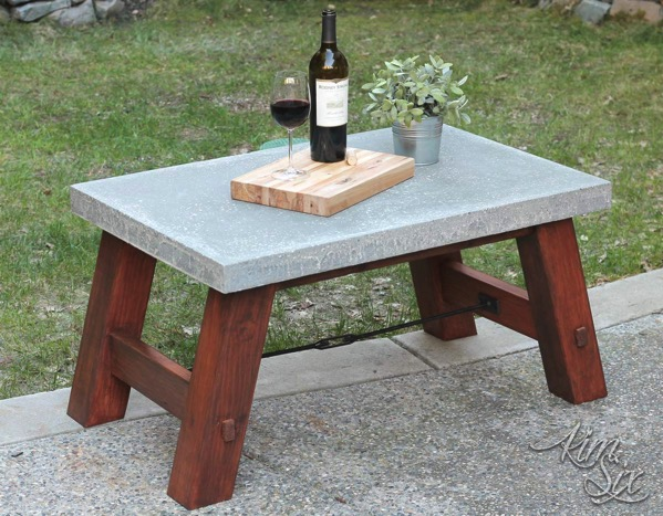 Concrete and Wooden Outdoor Pottery Barn Table