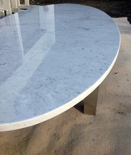 Tischplatte natursteinplatte steinplatte marmor weiss oval for Tischplatte rund marmor