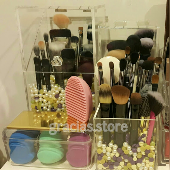 Crystal Clear Acrylic Makeup Brush Holder Brushes Storage