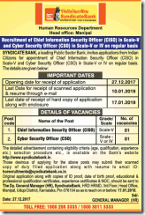 Syndicate Bank CISO CSO Notice 2018 www.indgovtjobs.in
