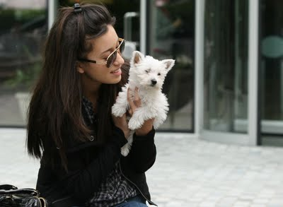 Christian Serratos and a dog