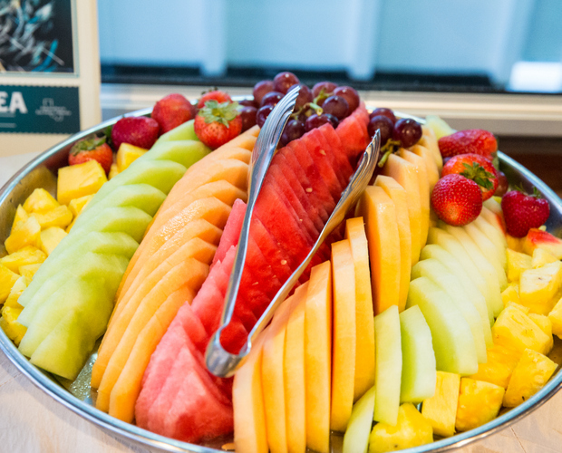 photo of sliced fruit on a platter