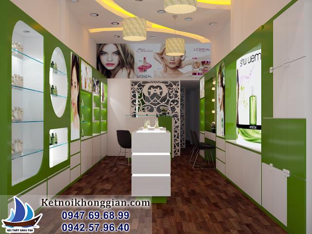 thiết kế cửa hàng mỹ phẩm thiên nhiên