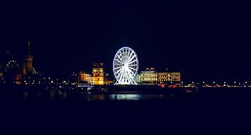 Düsseldorf Rheinpromenade by night