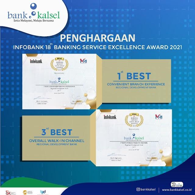 Bank Kalsel Didapuk Sebagai yang Terbaik dalam Banking Service Excellence Award 2021
