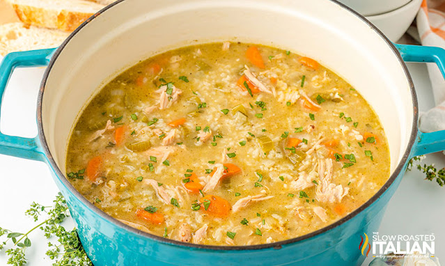 turkey rice soup in a dutch oven
